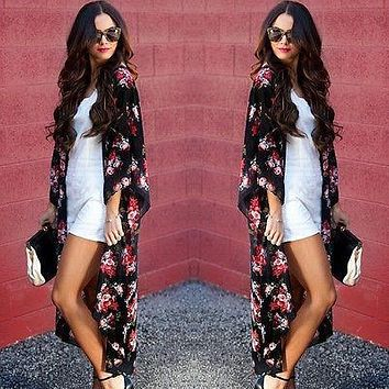 Women Ladies Floral Open Cape Casual Coat Loose kimono Jacket Cardigan