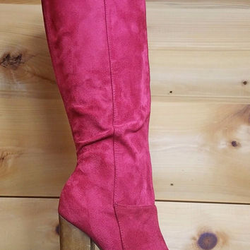 "Freedom Platform Knee Boot FX Ruby Red Suede - 5"" Wood Block Heels"