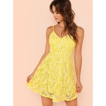 Lace Overlay Fit & Flare Cami Dress