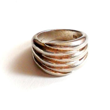 Modern Silver Ring Signed MF 925 Sterling Size 6 Vintage Chunky