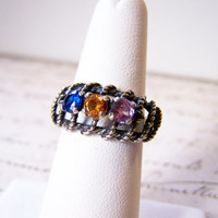 1970s Vintage Colorful Crystal Rhinestone Sterling Silver Ring Size 6.5 / Gift for Her.