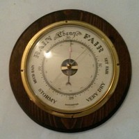Vintage Brass Barometer Mounted on Wood Round Made In France