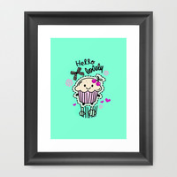 Hello Lovely Cartoon Cupcake.  Framed Art Print by Kristy Patterson Design