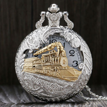 Vintage Style Charming train casing open able pocket watch