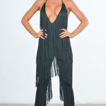 Indie XO It's All About Me Black Fringe Sleeveless Spaghetti Strap Plunge V Neck Loose Wide Leg Jumpsuit
