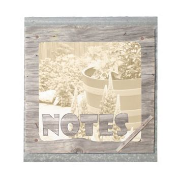 Wood and Tin Framed Sepia Barrel Garden Notes Pad