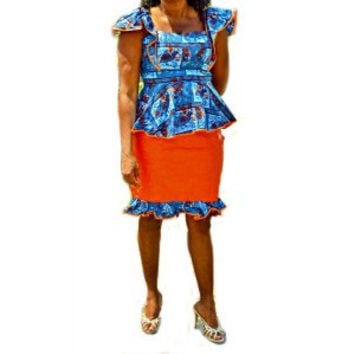 African Ankara And Bazin Blue And Orange Skirt Suit