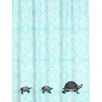 Water Repellent Fabric Shower Curtain Aqua Turqouise Medallions and Turtle Print