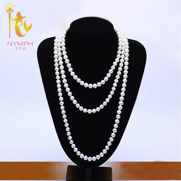 NYMPH long natural pearl necklace real freshwater jewelry near round  pearl jewelry 3 rows 150 cm for wedding [NC1002]