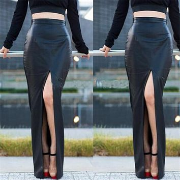 Black PU Leather Sexy Bodycon Slim Open Slide Autumn Womens Skirts 2017 High Waist Maxi Long Office Pencil Skirt Plus Size