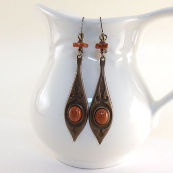 Earrings Antique Brass Art Deco Drops With Red Jasper Leverbacks