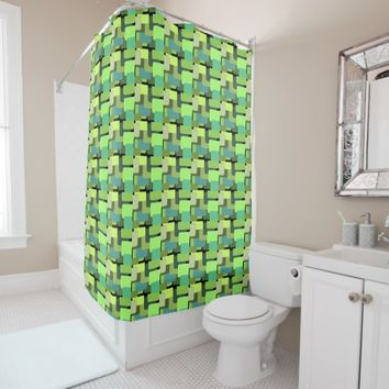 Green Emerald Lime Jade Modern Abstract Shower Curtain