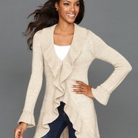 INC International Concepts Cardigan, Long-Sleeve Sequin-Knit Ruffle - Sweaters - Women - Macy's