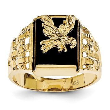14k Yellow Gold Men's Onyx Eagle Ring