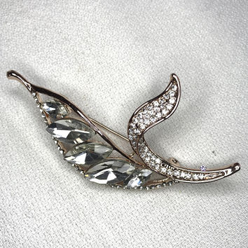 Stunning Rhinestone Flower Leaf Julianna Style Brooch