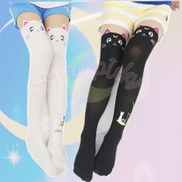 [3 For 2] Screaming! Sailor Moon Luna/ Artemis Kitten with Tail on Back Legging Tights Free Ship SP141305