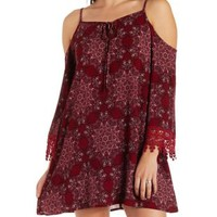 Red Combo Crochet-Trim Printed Cold Shoulder Dress by Charlotte Russe