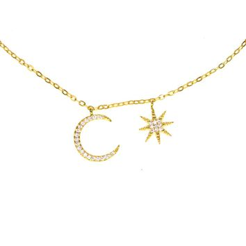 2018 new moon star charm choker elegant Christmas gift girl women elegant charming lovely jewelry charm chocker cz necklace
