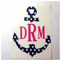 6 in x 7 in Monogrammed Anchor Decal for Car, Laptop, Tablet - Custom Nautical Sticker - Big little Gift Mom Friend Sister Hostess Teacher