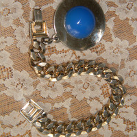 Upcycled 1970s18k Gold  Electroplated Chunky RETRO Bracelet W/ circle charm.Ocean Blue Jade gemstone center .EnVogue Jewelry