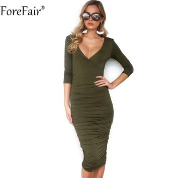 ForeFair Sexy V-neck 3/4 Sleeve Ruched Autumn Dress Black Army Green Long Bodycon Dress Women