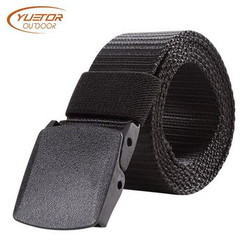 YUETOR OUTDOOR 125CM Length Military Tactical Belt Plastic Buckle Nylon Waist Belts Multicam Molle Automatic Buckle Army Belts