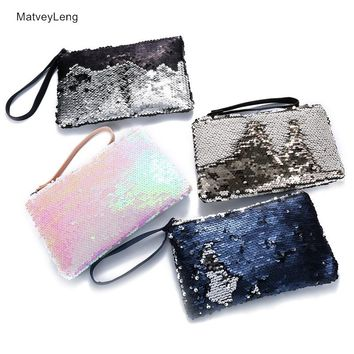 New Zipper Cosmetic Bag Fashion Mermaid Double-sided Color Sequins Cosmetic Bag Ladies Cosmetic Bag Party Bags Free Shipping