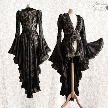 Victorian cardigan, black Steampunk robe, lace overcoat, Maeror, Somnia Romantica,size small - medium see item details for measurements