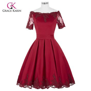 Short Cocktail Dresses 2017 Grace Karin Off The Shoulder robe de Cocktail Wedding Party Dress Satin Champagne Red Coctail Dress