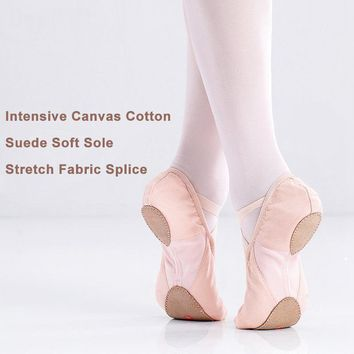 Flexible Canvas Ballet Dance Shoes Stretch Mesh Girls Children Women Soft Sole Ballet Flats Dance Shoes For Ballet