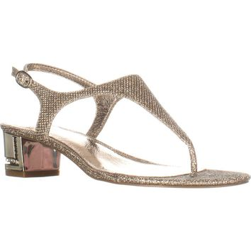 Adrianna Papell Cassidy T-Strap Sandals, Platino, 6.5 US