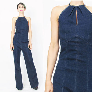 90s Denim Jumpsuit Wide Leg Halter Jumpsuit Cut Out Keyhole Club Kid Raver Romper Stretchy Dark Denim Dungarees Blue Jean Outfit (S/M)