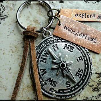 Wanderlust Explore Copper and Silver Compass Charm Hand Stamped Keychain Key fob