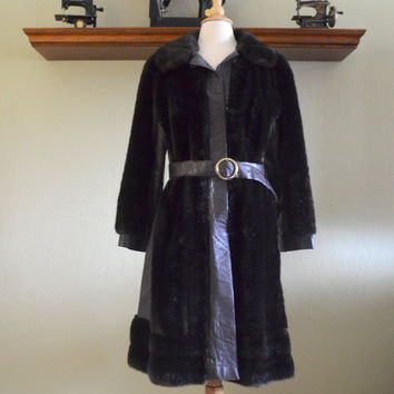 Vintage Faux Fur and Pleather Coat, Chocolate Brown Long Belted Coat, Tocci Imports, circa 1960s-1970s