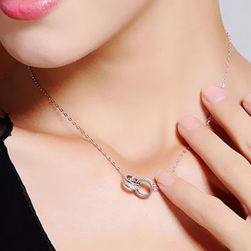 Womens Ring Lock Ring Crystal Necklace Gift-98