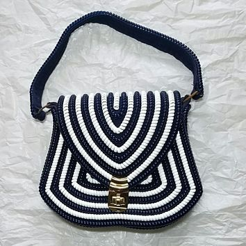 Vintage 'Telephone Cord' Purse Handbag 1950s Blue and White