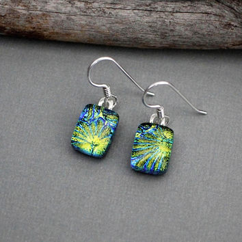 Fused Glass Earrings - Sterling Silver Dangle Earrings - Dichroic Glass Earrings - Unique Earrings - Mothers Day Jewelry