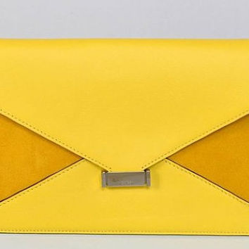 Celine Yellow Diamond Patchwork Clutch