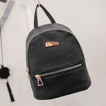 Fashion Faux Leather Mini Backpack Girls Travel School Rucksack Bag