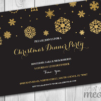 Christmas Party Invitations Black & Gold Snowflakes Holiday Season Invites and Festive Printable INSTANT DOWNLOAD Soiree Customize Editable