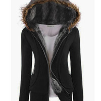 'The Ysabel' Long Sleeve Fur Hooded Coat