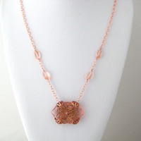 OOAK Filigree Art Cut Glass Beaded Necklace, Light Peach Rose Gold Glass Necklace