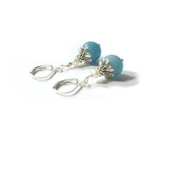 Genuine Aquamarine And Pearl  Earrings ,  Lever Back Ear Wires