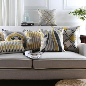 Nordic Style Geometric Decorative Sofa Throw Pillowcase Yellow Grey Zebra Floral Printed Cushion Cover Almofadas Cojines