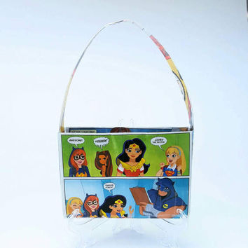 Cute Little Girl Easter Purse, Upcycled DC Superhero Girls Comic Book Purse, Wonder Woman, Supergirl, Batgirl Girl's Tote Bag, Kid's Handbag