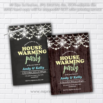 housewarming invitation, rustic invites,  New house home sweet home Invitation Card, We have moved Invitation Card Design - card 398