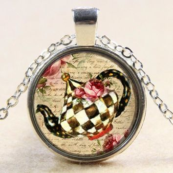 New Trendy Necklace Teapot Alice in Wonderland Tea Time Pendant Necklace YP5180