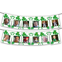 Shamrock 1st Birthday Banner -  Shamrock Birthday Photo Banner Boy -  St Patricks Day 1st Birthday Banner - Irish 1st Birthday Banner Boys