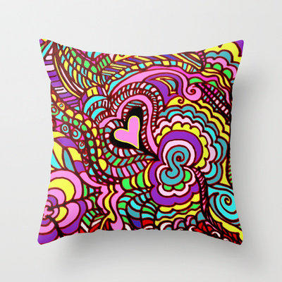 LOVE POP ART where the colors and design jump off the page Throw Pillow by RokinRonda   Society6