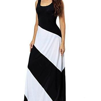 Aofur Summer Women Casual Striped Sleeveless Beach Maxi Dress Plus Size Evening Long Skirt